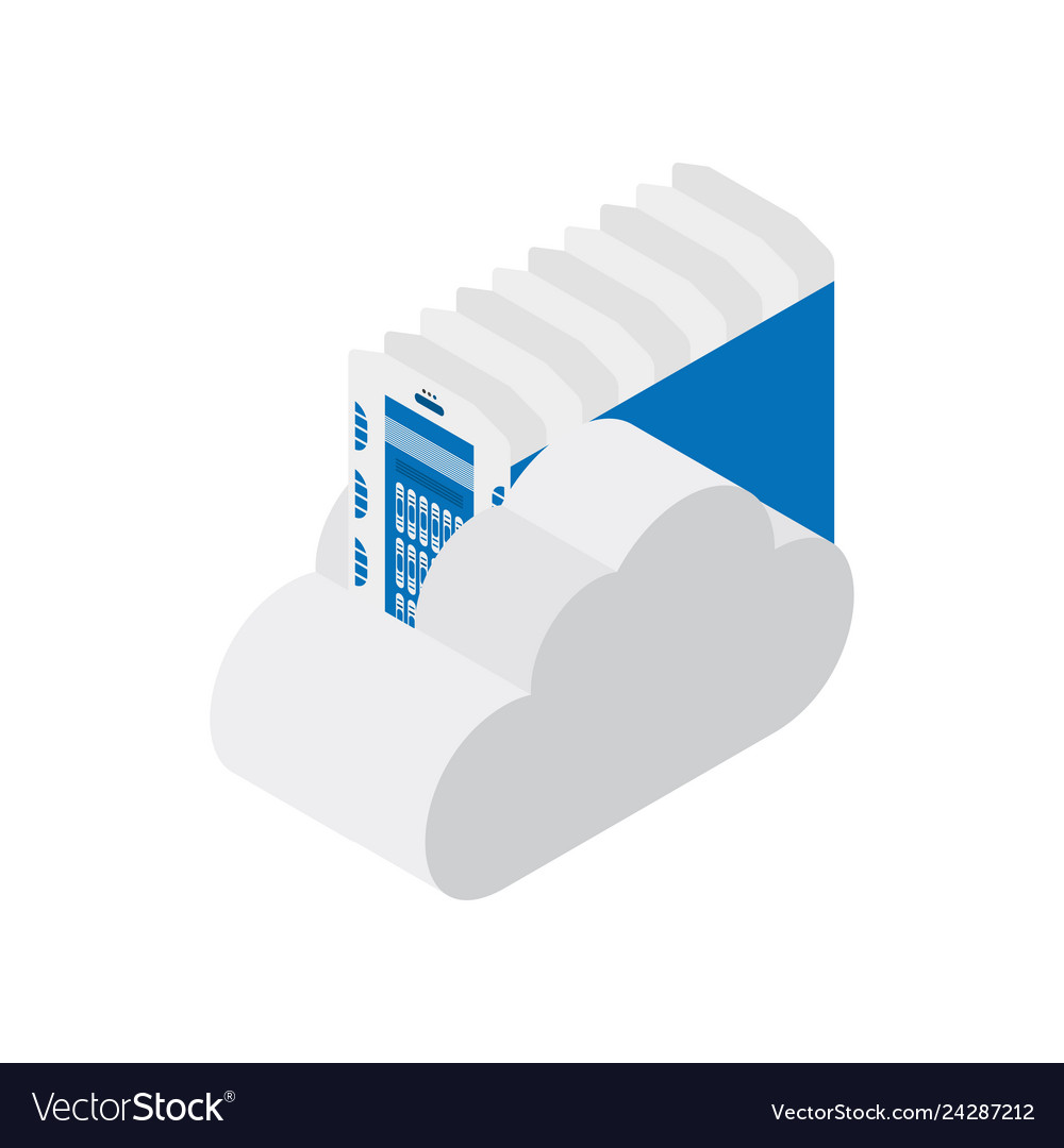 Isometric data center with cloud on white