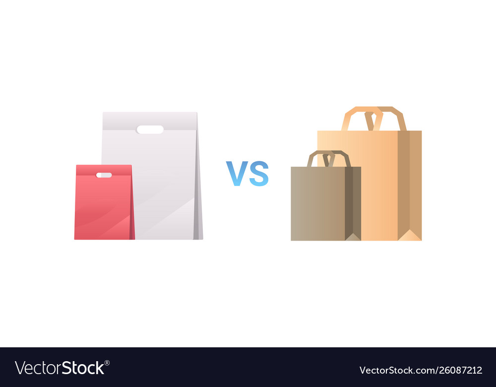 Paper vs plastic bags different packages packet