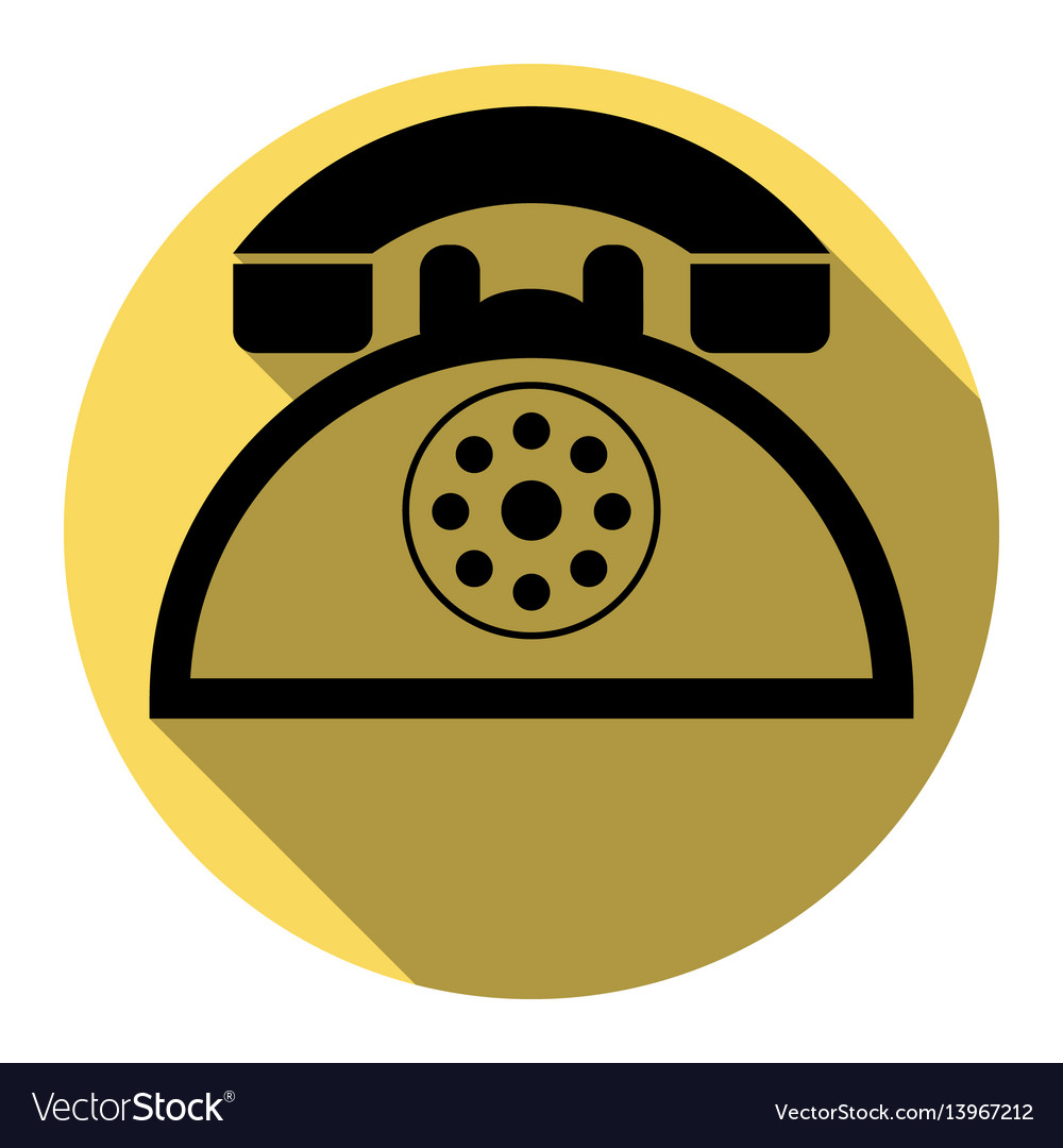 Retro telephone sign flat black icon with