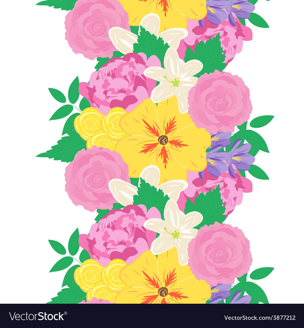 Seamless hand drawn flower pattern vector image