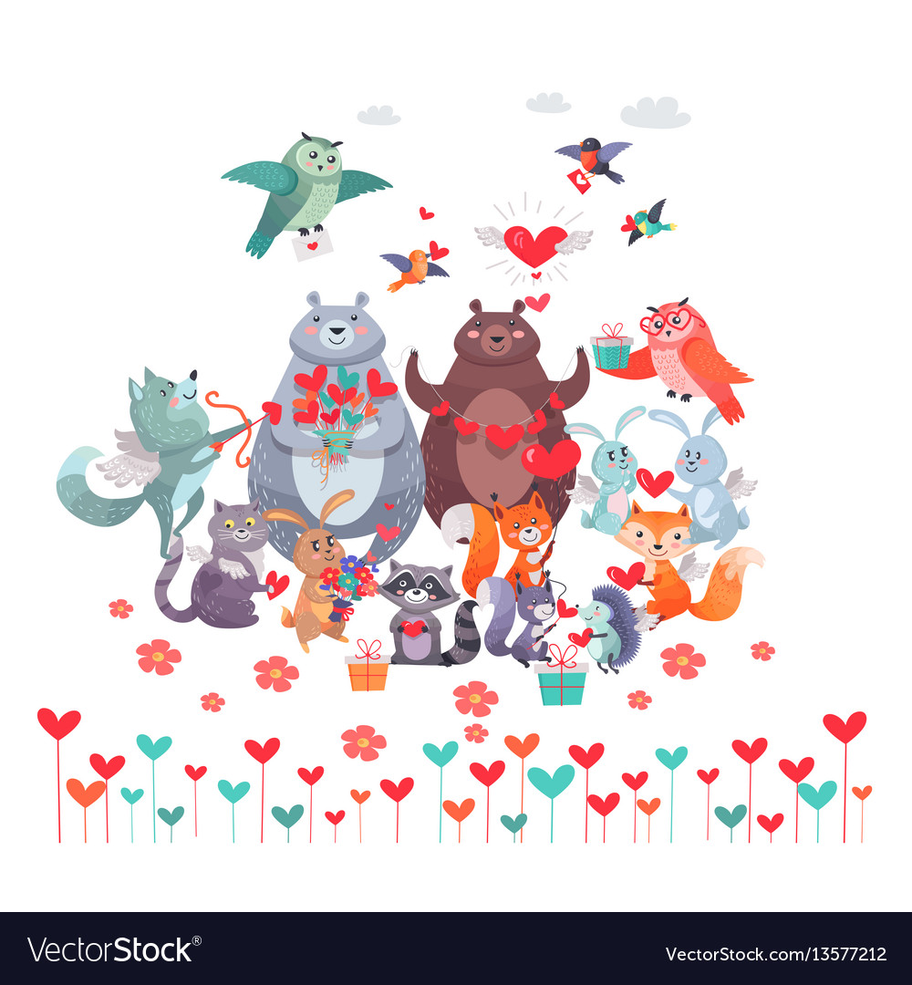 Set of animals with hearts valentines day concept