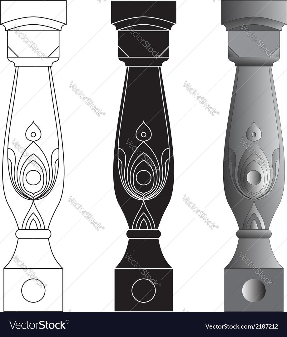 Set of three balusters