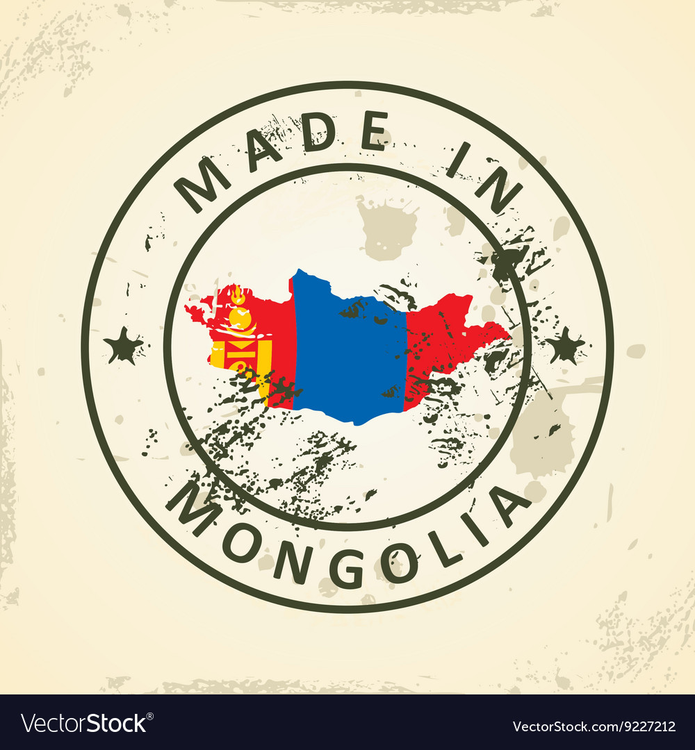 Stamp with map flag of Mongolia