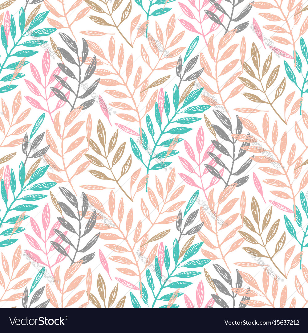 Tropical palm leaves seamless foliage pattern
