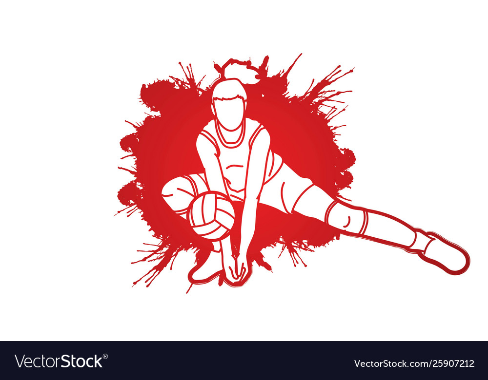 Volleyball sport action cartoon graphic