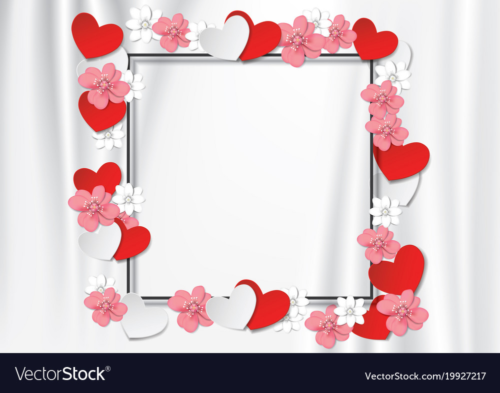 Black frame with flowers and heart on white cloth Vector Image