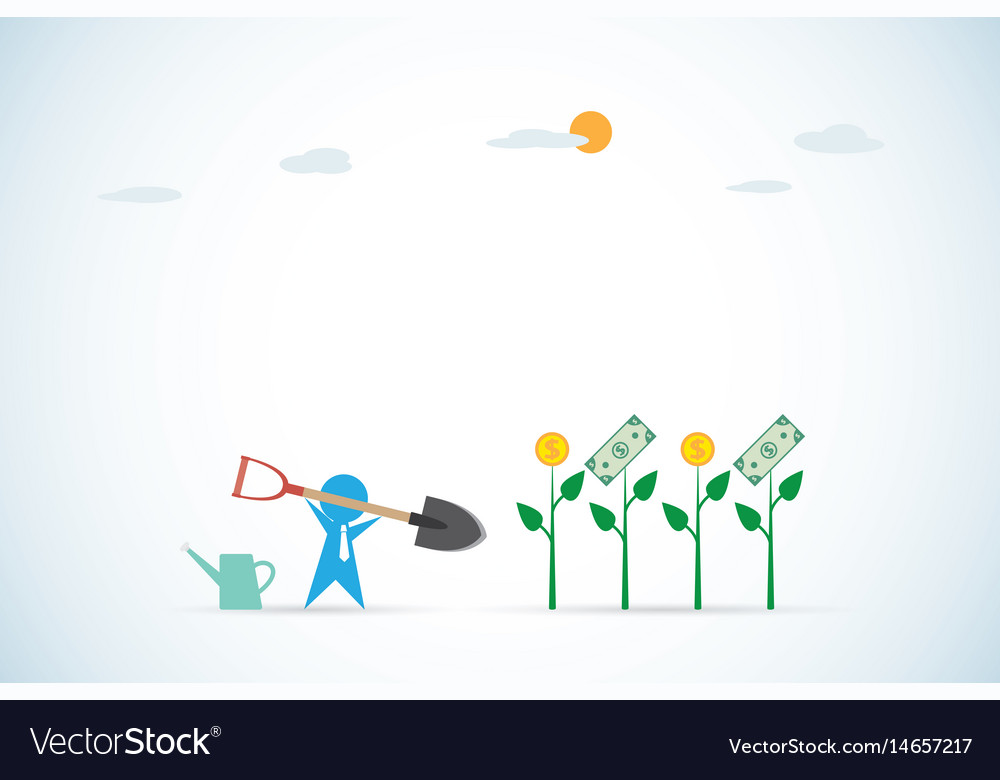 Businessman with shovel and plant