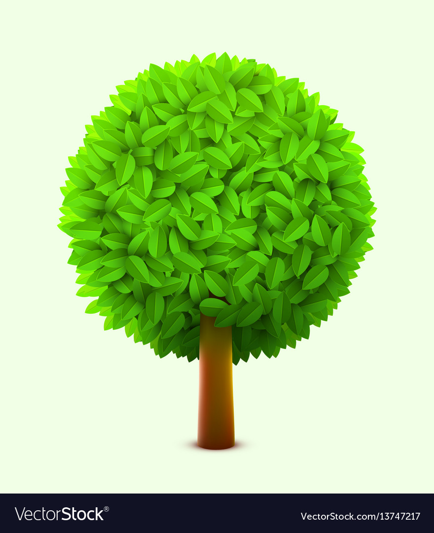 Cute tree with green leaves realistic spring or