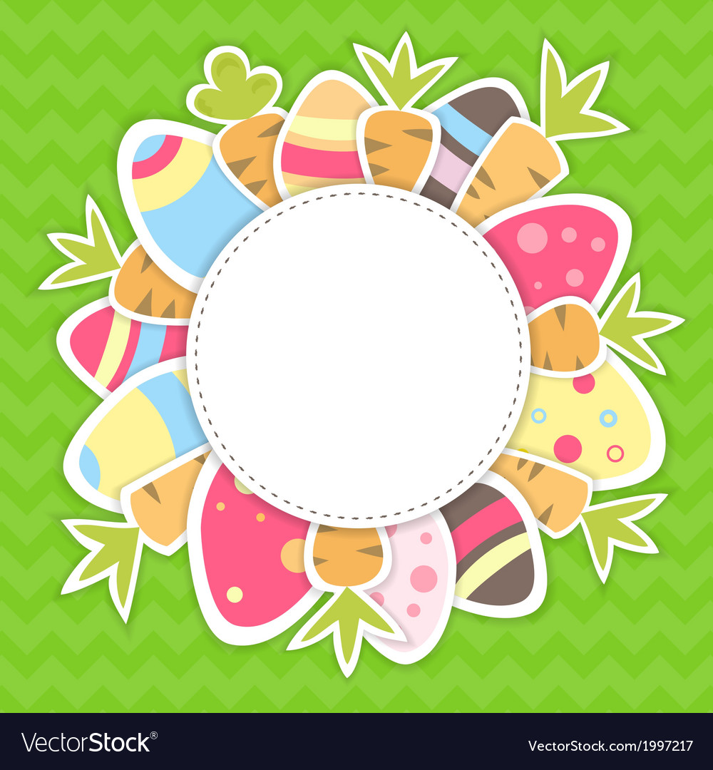 Easter carrots and eggs pattern on a green