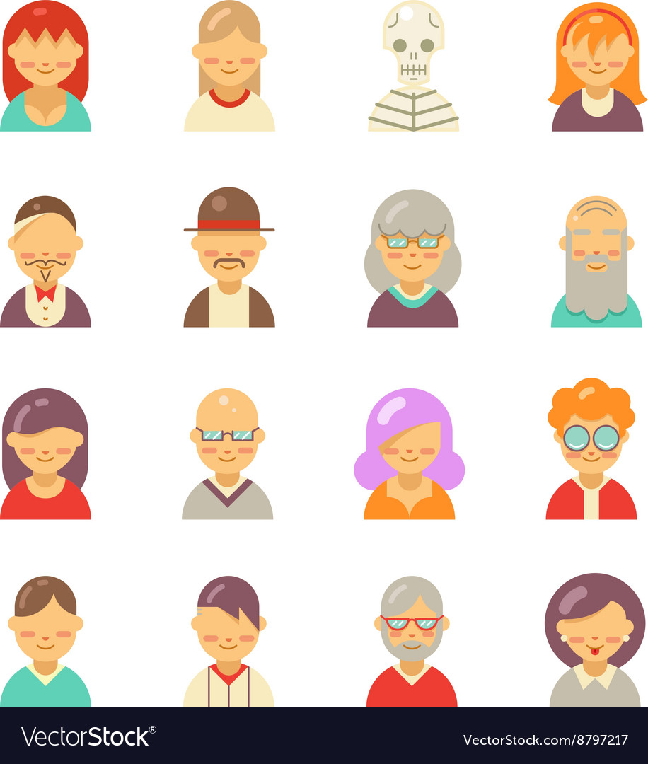 Flat people icons for app user avatar face Man