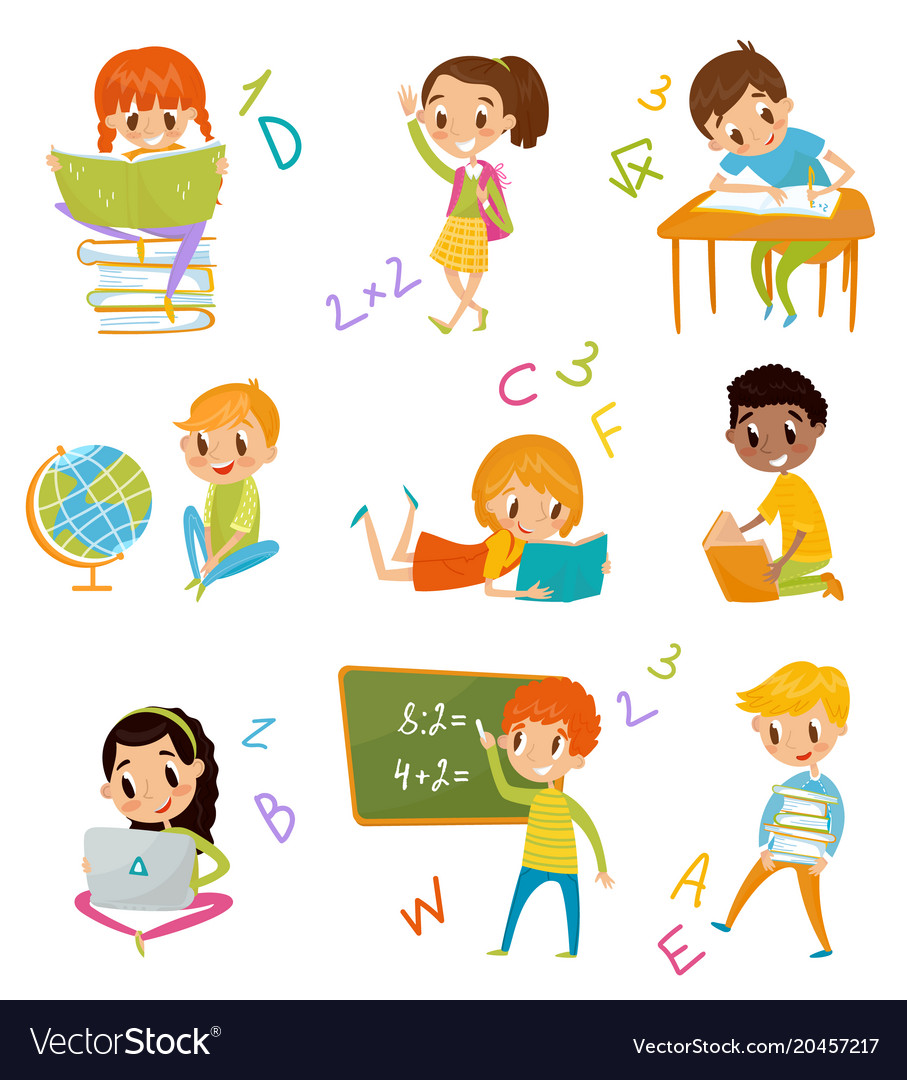 63cc68f89cf4 Kids at school set cute boys and girls at lesson