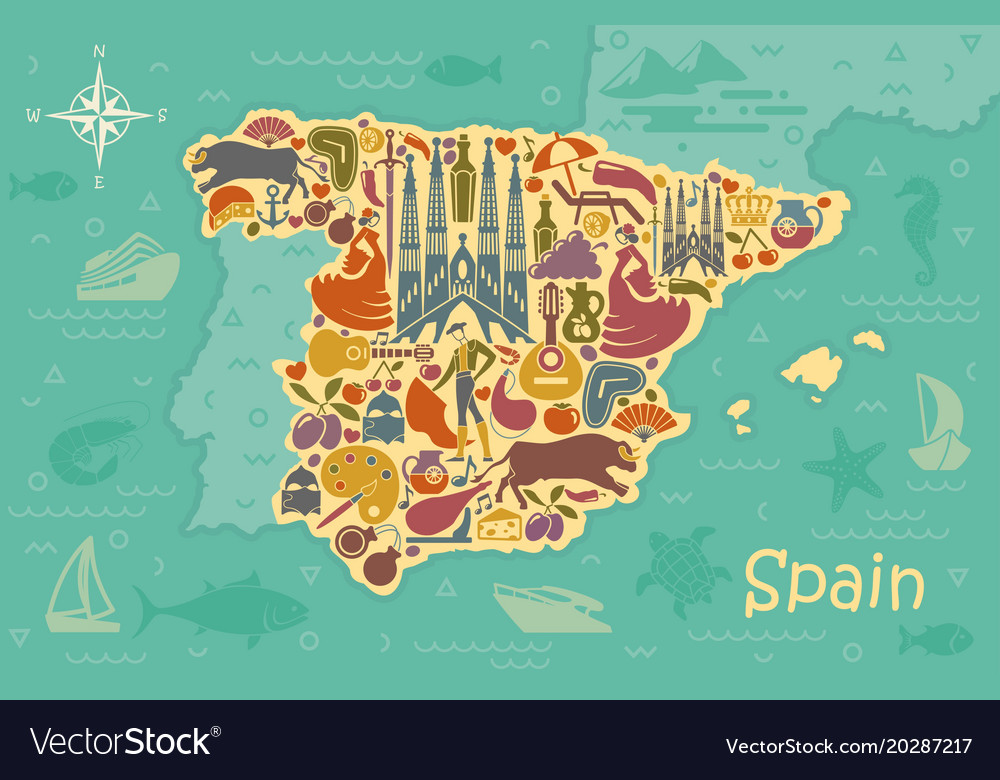 Stylized map of spain Royalty Free Vector Image