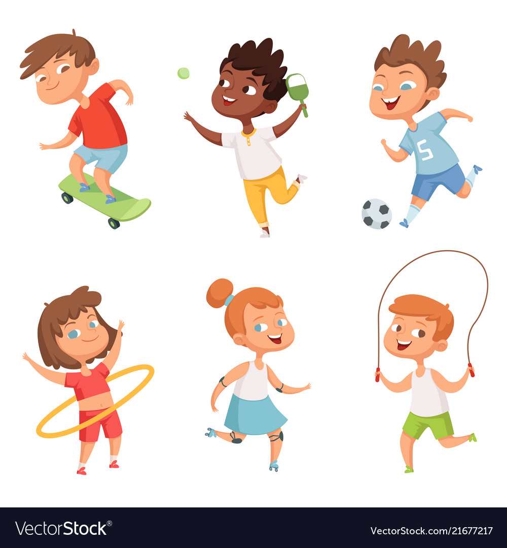Various kids in active sports characters