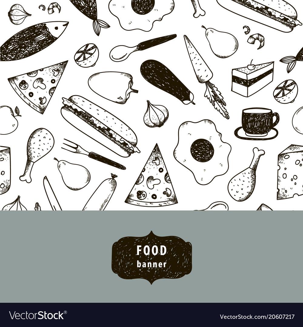 Vintage food hand drawn vector image