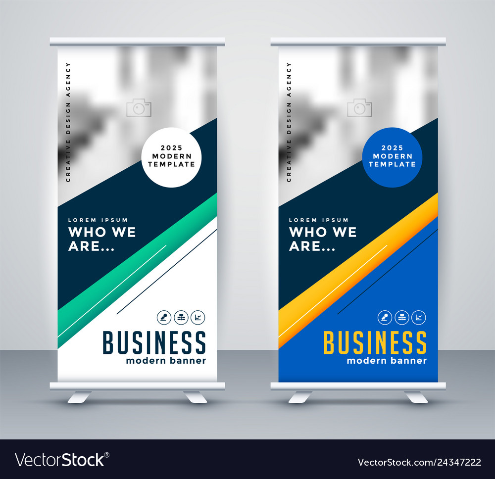 Abstract geometric rollup banner design
