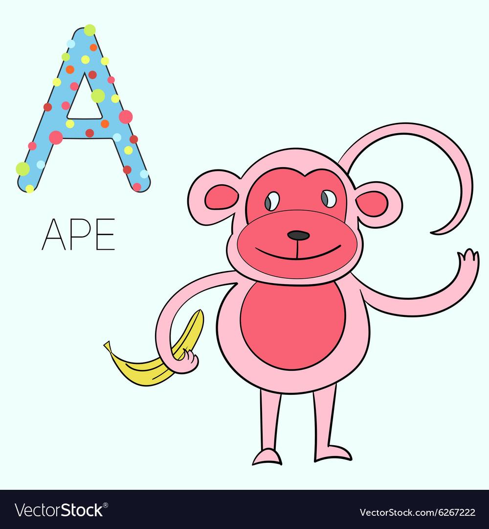Alphabet letter A ape children Royalty Free Vector Image