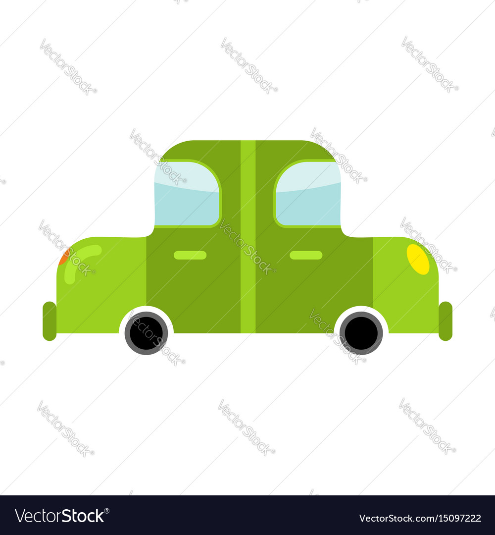 Car green isolated transport on white background