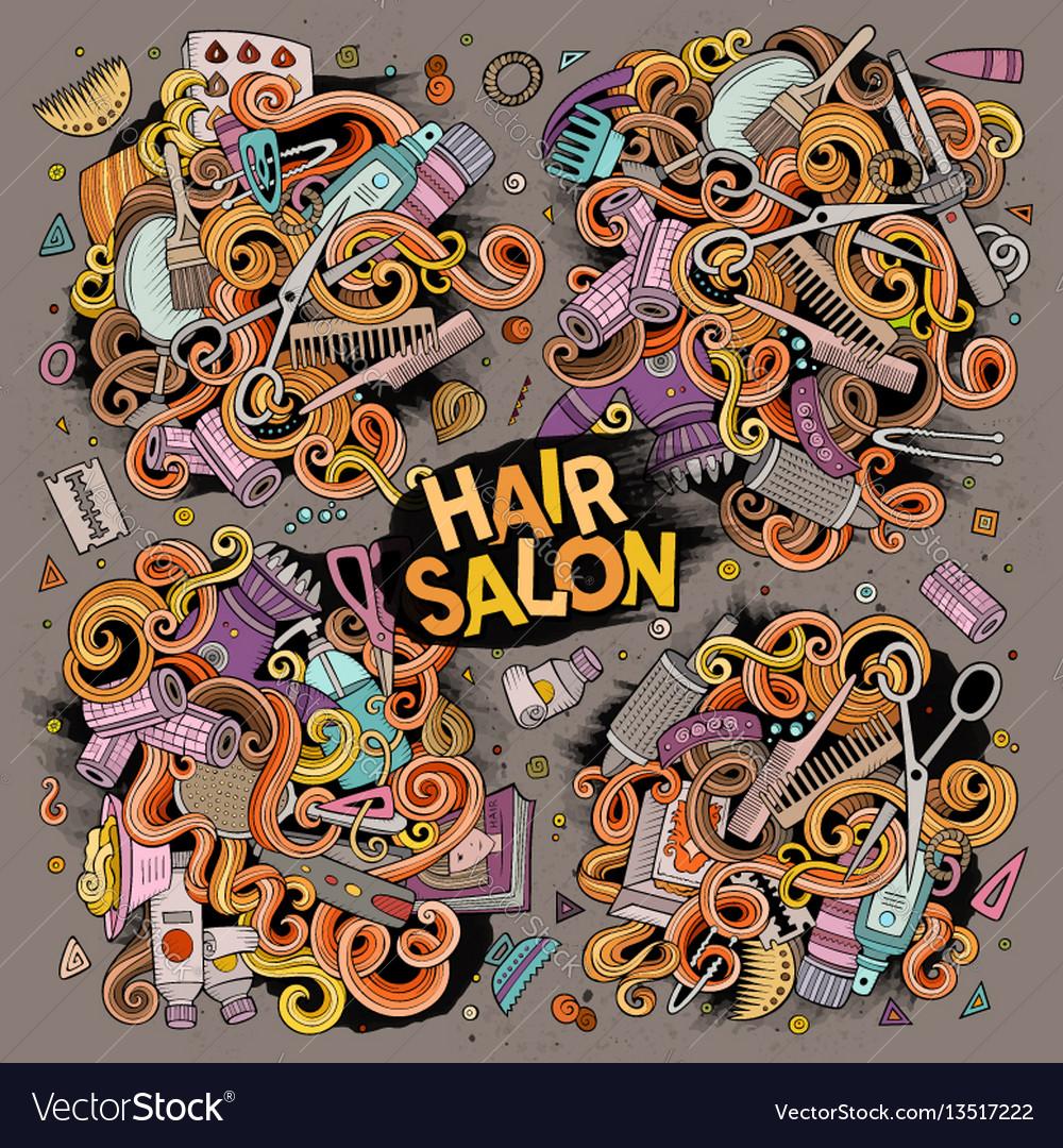 Cartoon set of hair salon theme objects