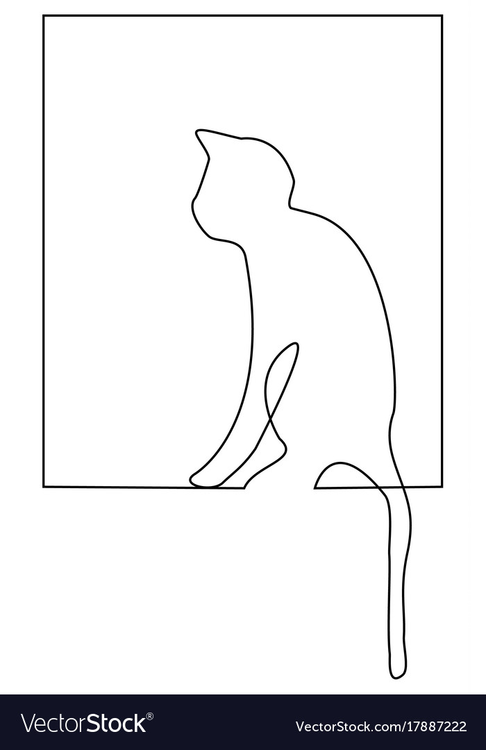 Cat one line drawing vector image