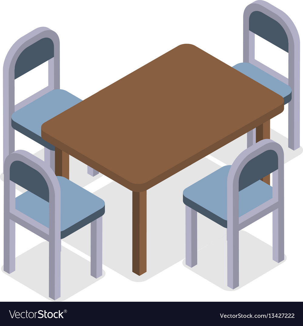 Chair and table isometric design cafe furniture