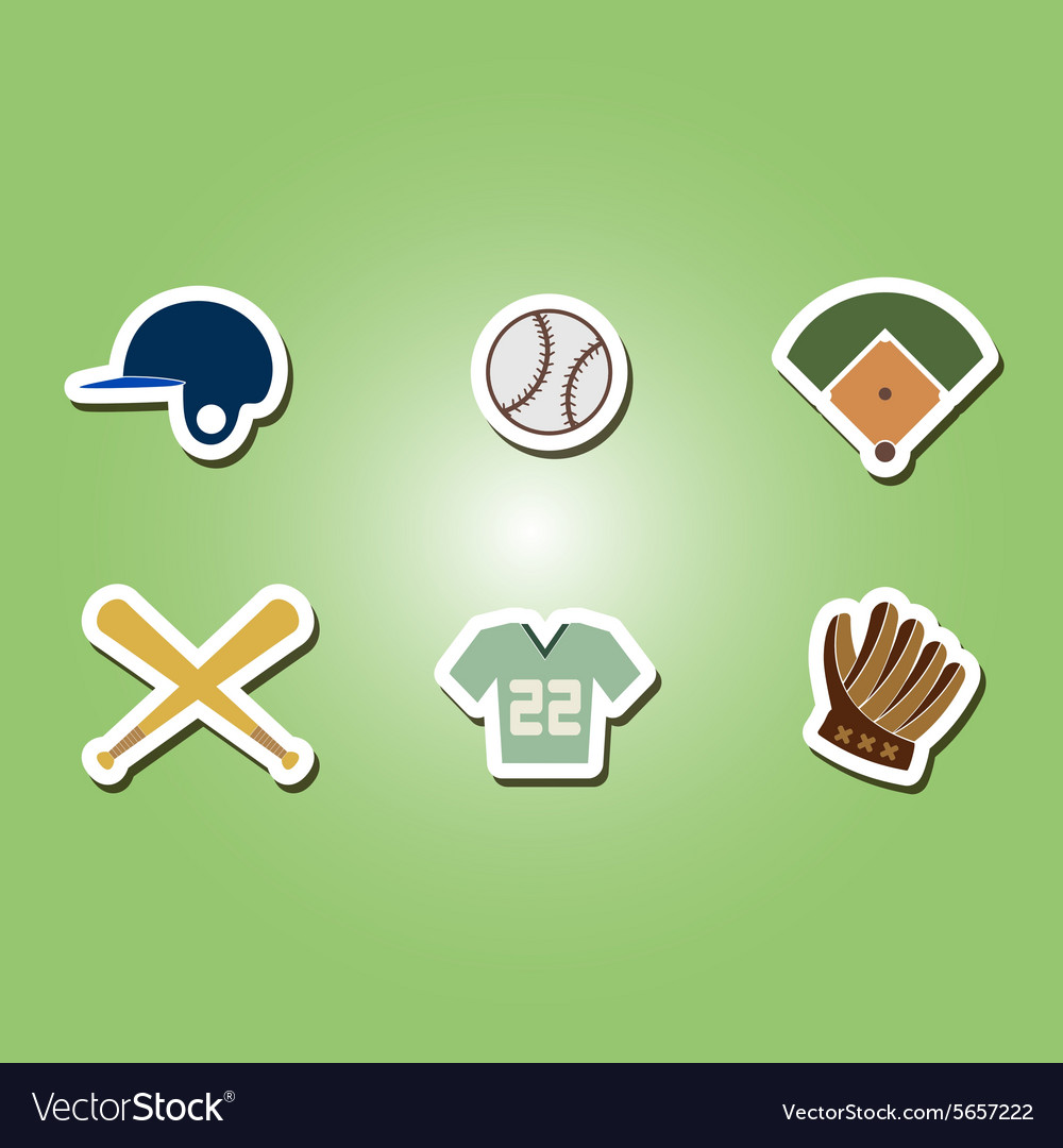 Color set with baseball icons