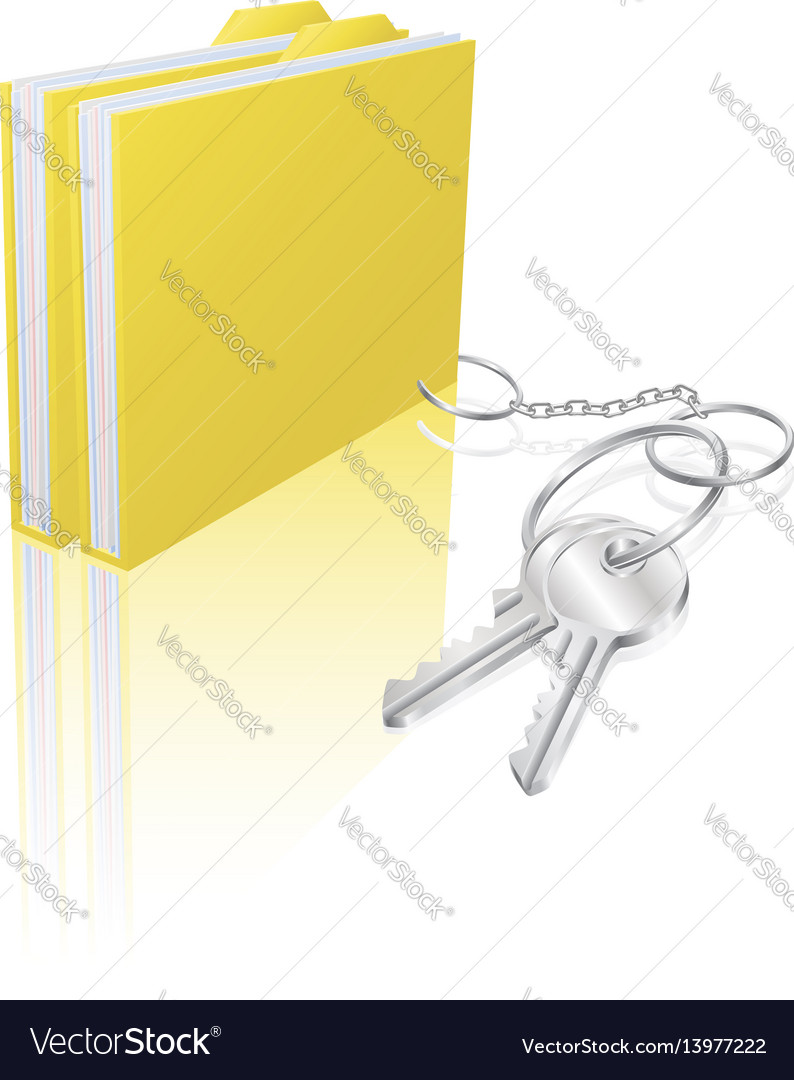 Computer file keys document security concept vector image