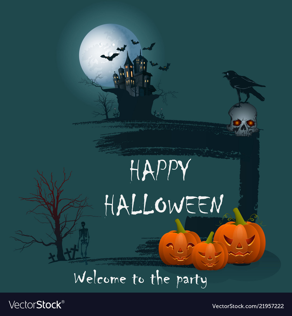Design Of A Holiday Greeting Card For Halloween On