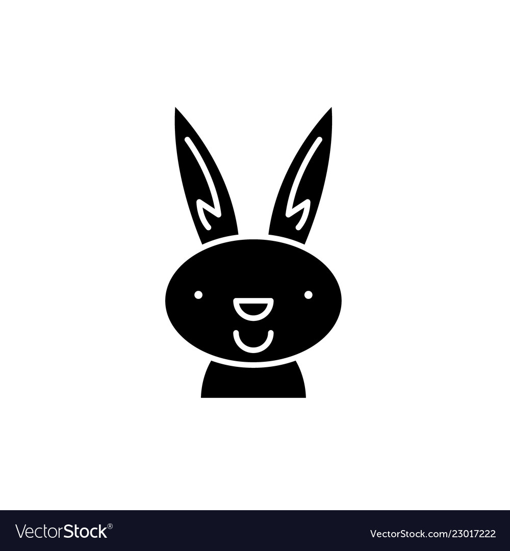Easter bunny black icon sign on isolated