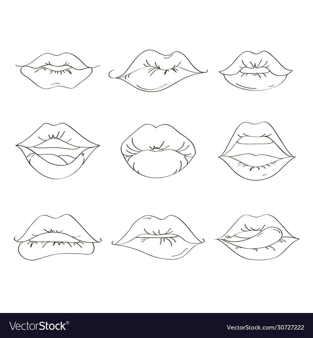 Female lips set on sweet passion
