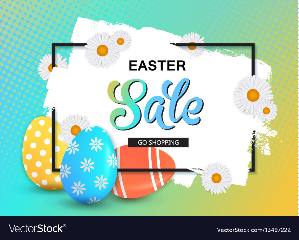 Happy easter sale banner with eggs and frame vector image