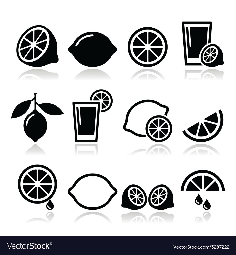 Lemon lime icons set