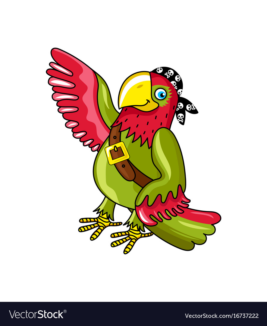 Pirate parrot in bandana icon