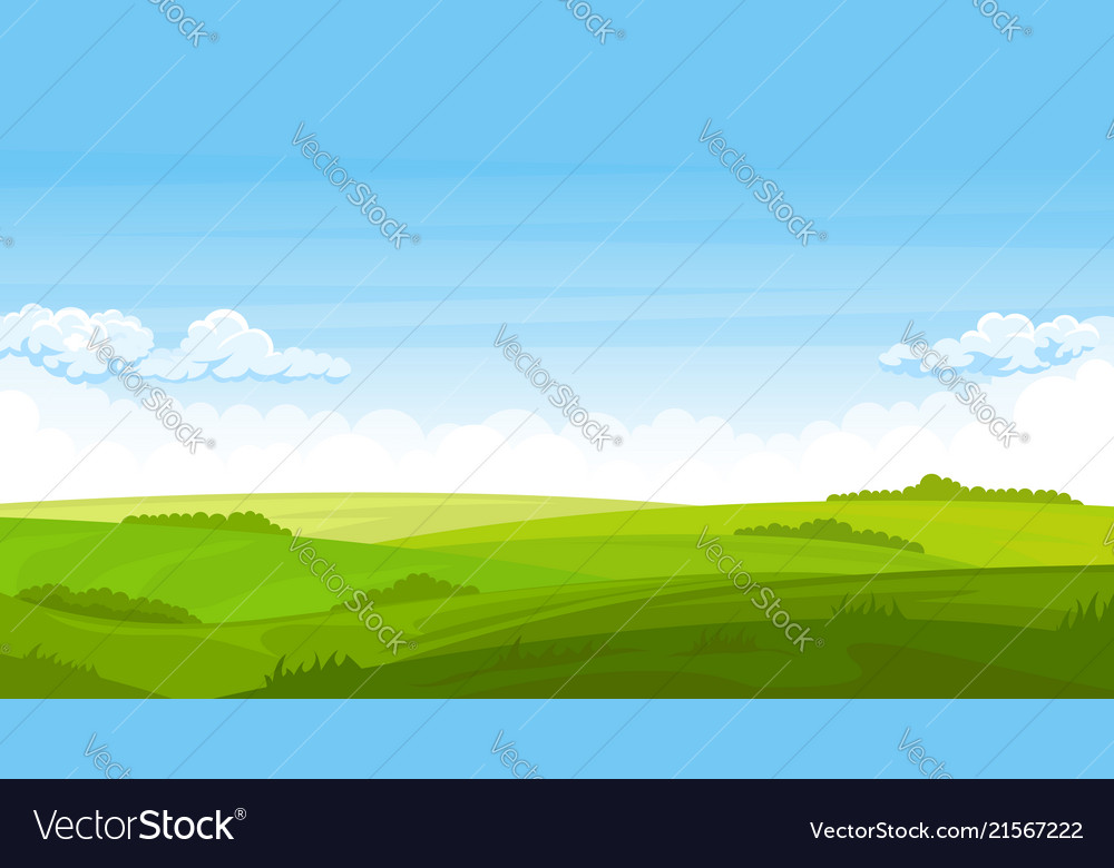 Summer landscape with fields and green hills