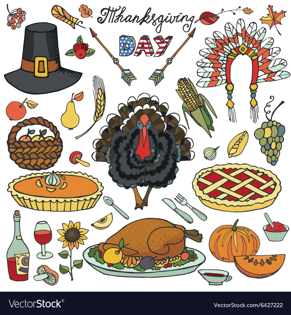 Thanksgiving dayDoodle icons colorful set