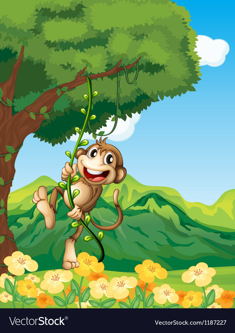 A monkey clinging at the vine plant