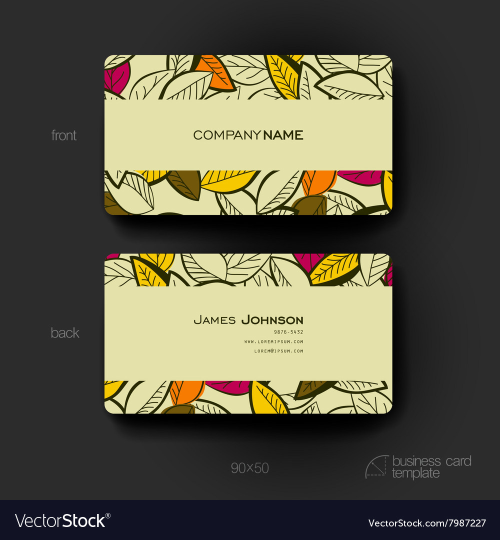 business card template with autumn leaf royalty free vector