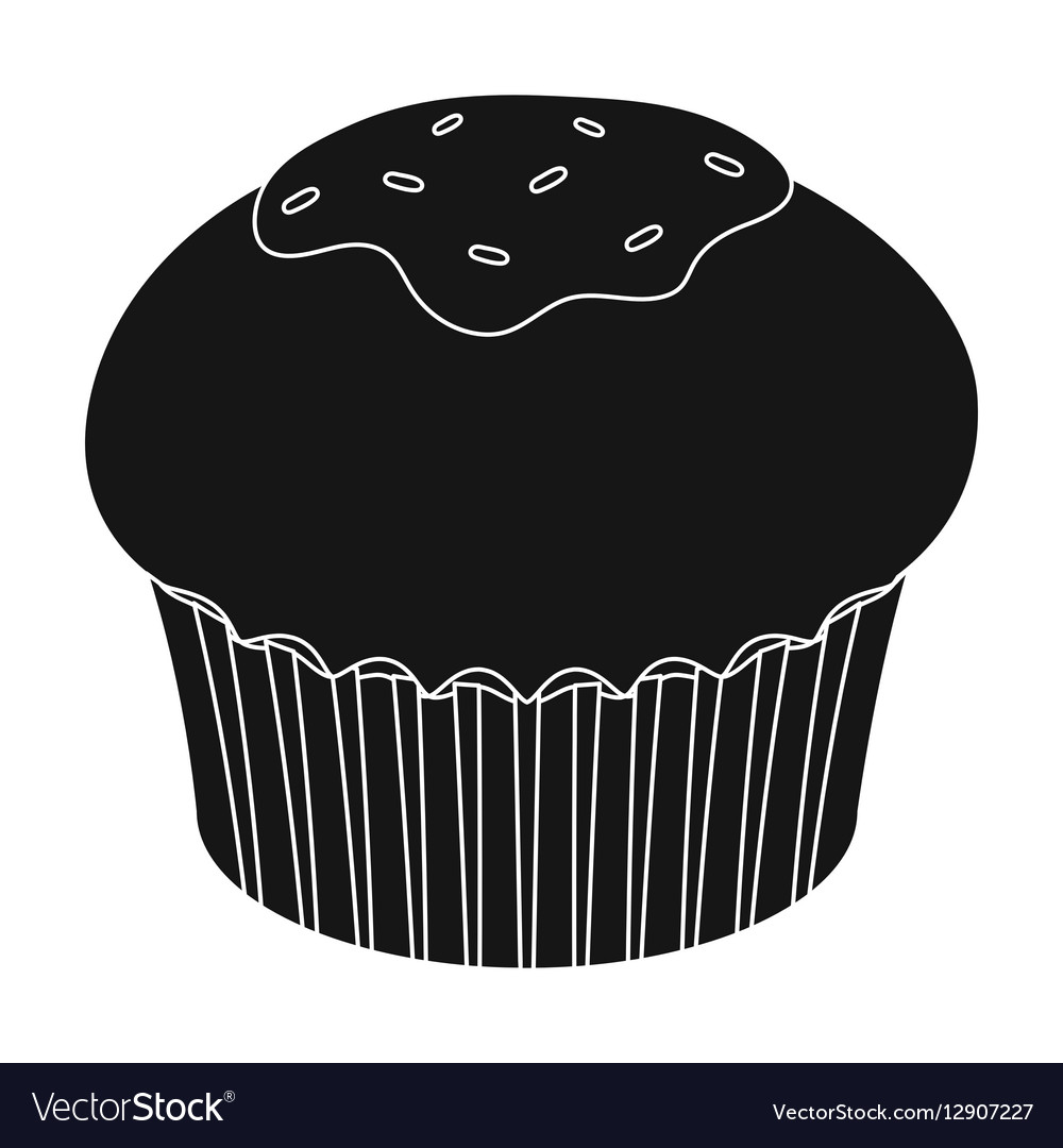Chocolate cupcake icon in black style isolated on