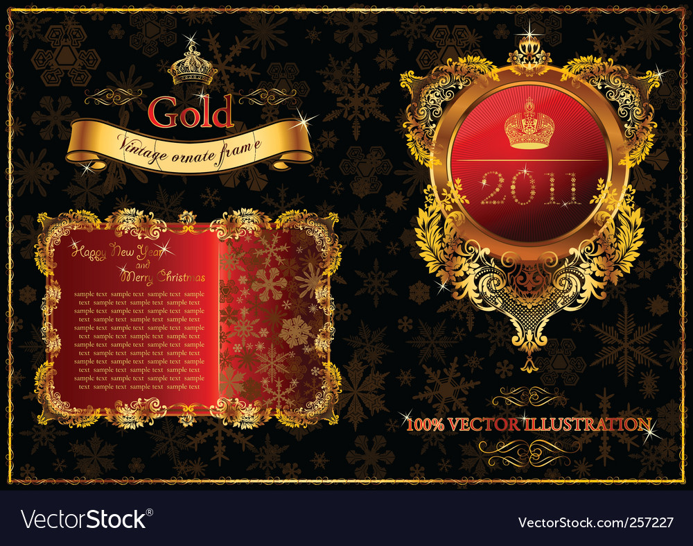 Christmas golden ornate frames 2011 vector image