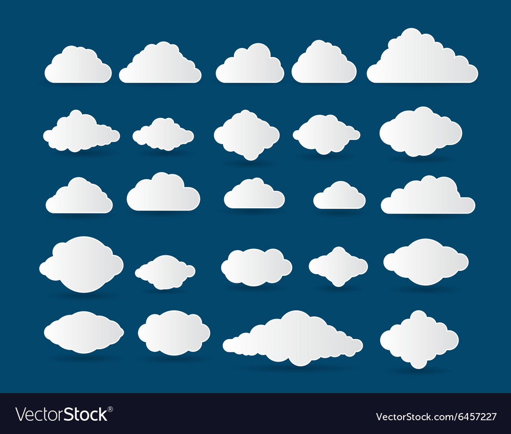 Collection stylized cloud silhouettes