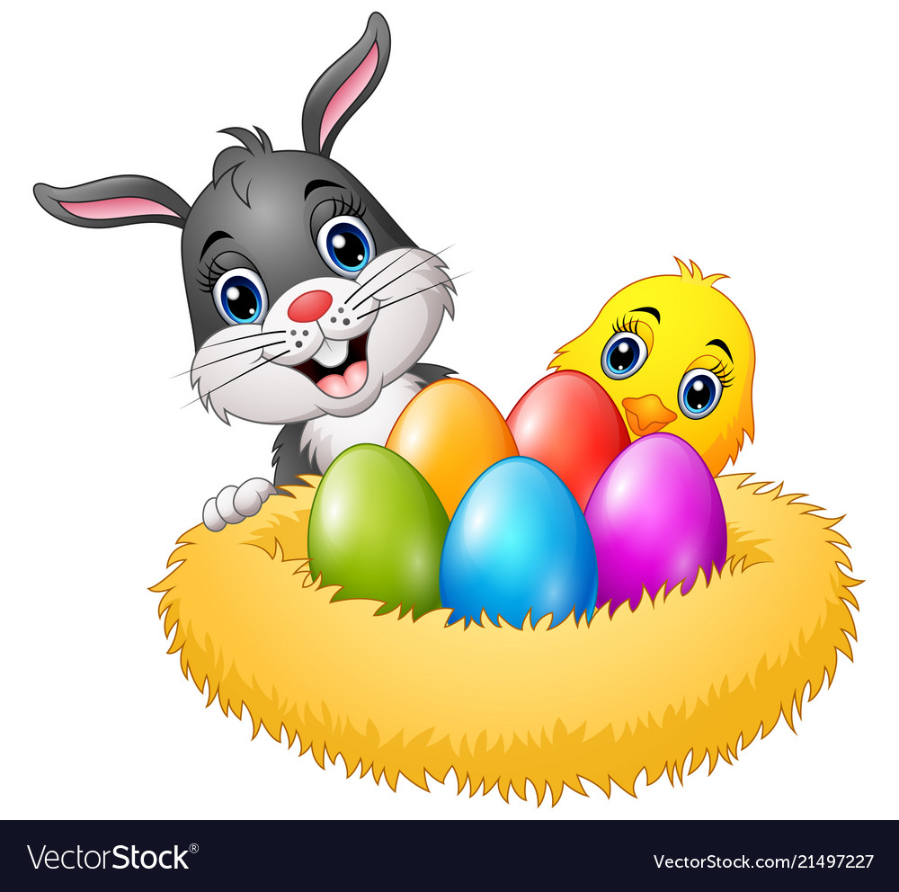 Easter rabbit with chicks and colorful eggs in the
