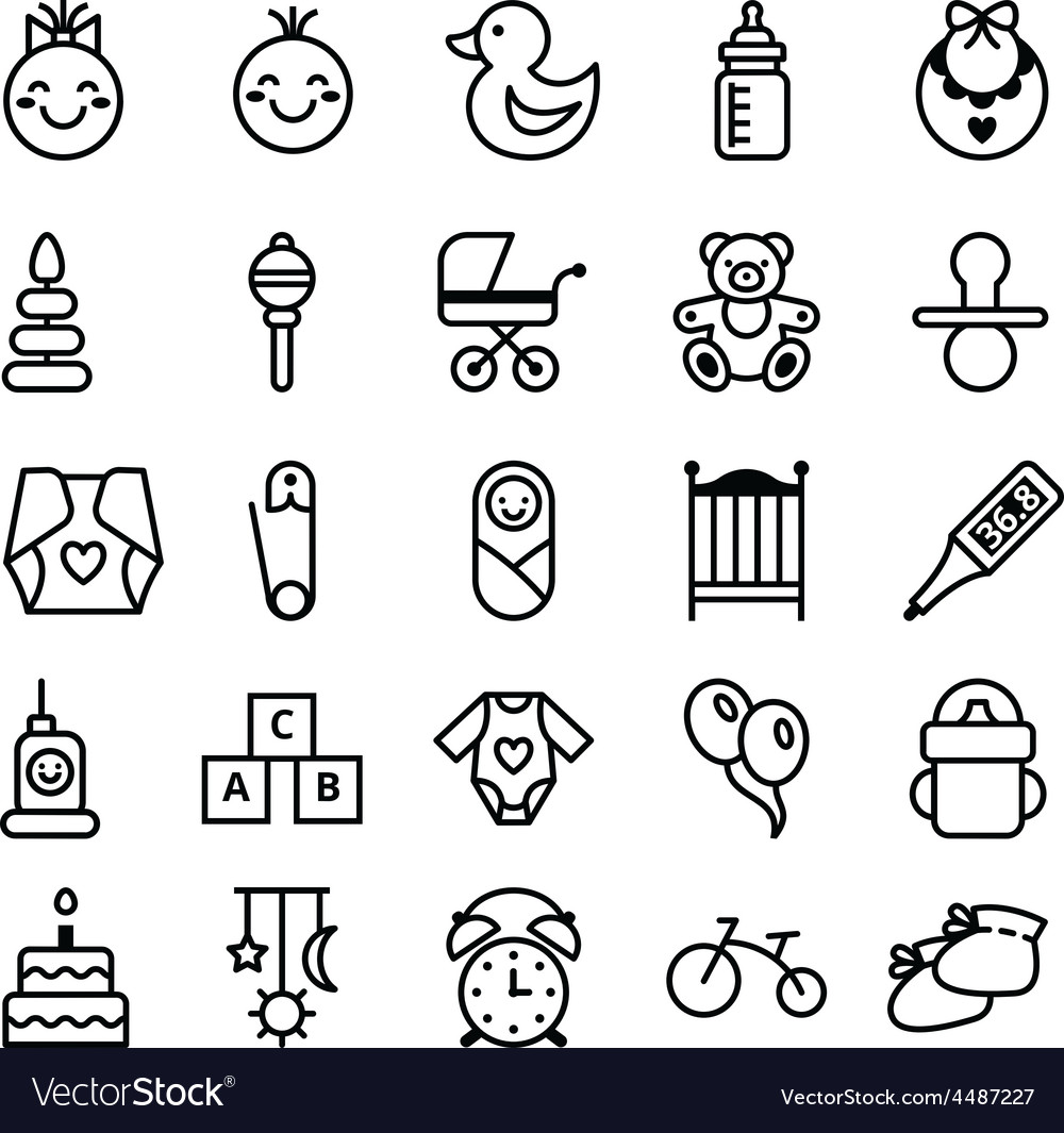 Icons set baby and accessories vector image