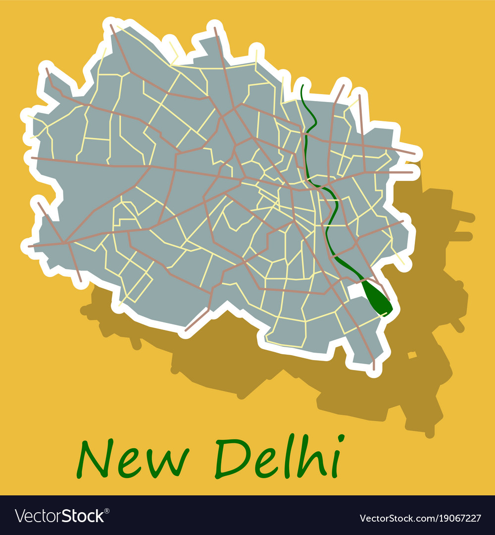 New delhi map sticker style design royalty free vector image new delhi map sticker style design vector image gumiabroncs Images