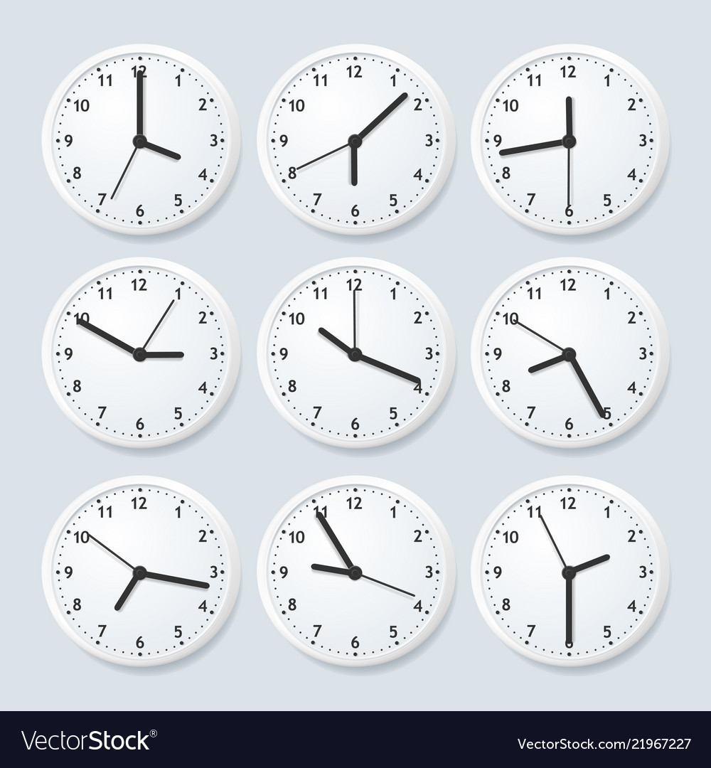 Realistic detailed 3d clock set with different
