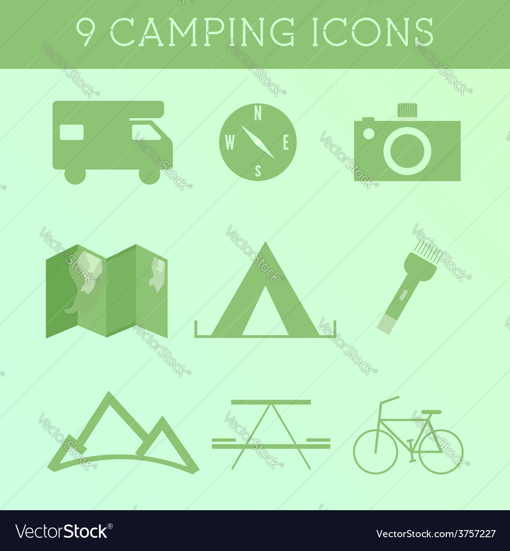 Set of Outdoor Summer camping Icons RV motorhome