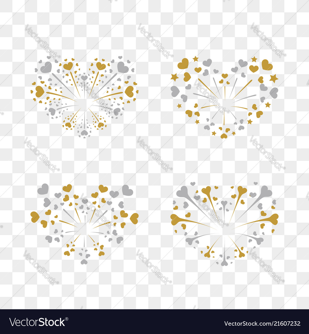 Beautiful heart-fireworks set romantic salute