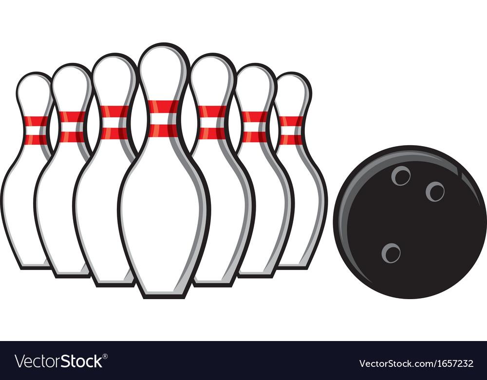 Bowling Pins And Bowling Ball Royalty Free Vector Image