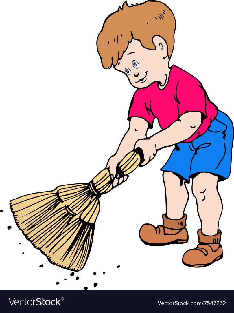Boy with a broom