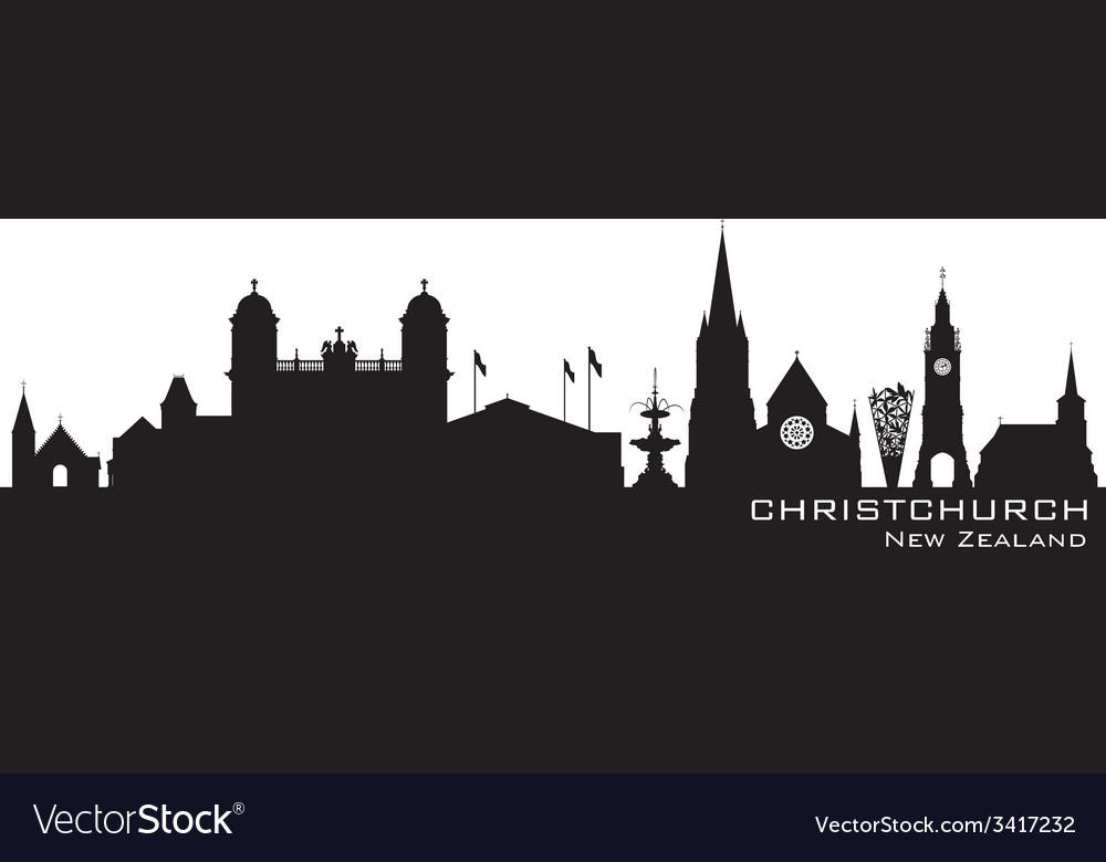 Christchurch New Zealand skyline Detailed silhouet