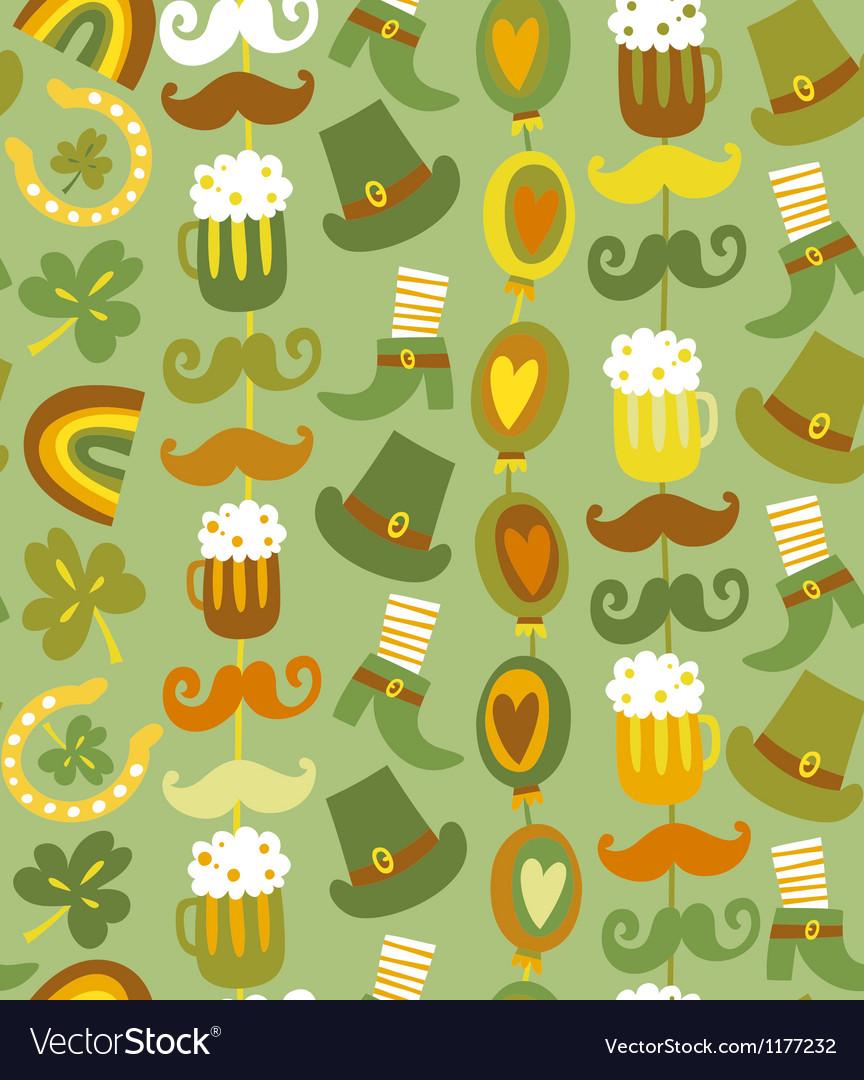 Colorful seamless StPatricks day pattern vector image