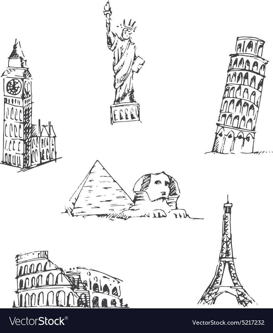 Doodle travel set world famous landmarks